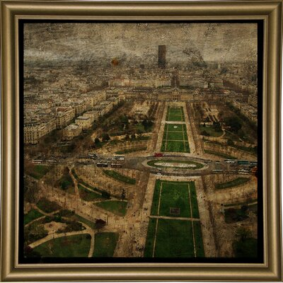 'Paris Skyline V' Graphic Art Print Format: Bistro Gold Framed Paper, Size: 6