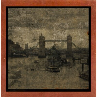 'Tower Bridge I' Graphic Art Print Format: Affordable Canadian Walnut Medium Framed Paper, Size: 6