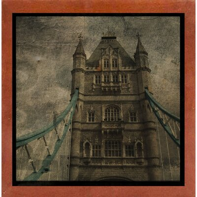 'Tower Bridge II' Graphic Art Print Format: Affordable Canadian Walnut Medium Framed Paper, Size: 6