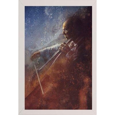 'The Cello Player' Framed Graphic Art Print Format: White Medium Framed