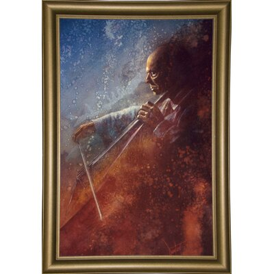 'The Cello Player' Framed Graphic Art Print Format: Bistro Gold Framed