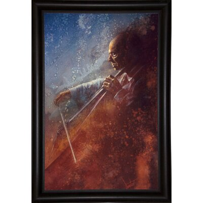 'The Cello Player' Framed Graphic Art Print Format: Bistro Expresso Framed