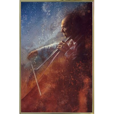 'The Cello Player' Framed Graphic Art Print Format: Gold Metal Framed Paper