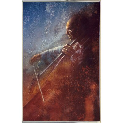 'The Cello Player' Framed Graphic Art Print Format: Silver Metal Framed Paper