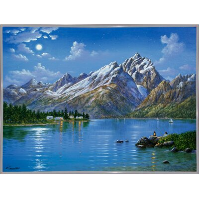 'Grand Tetons' Graphic Art Print Format: White Metal Framed Paper, Size: 30.75