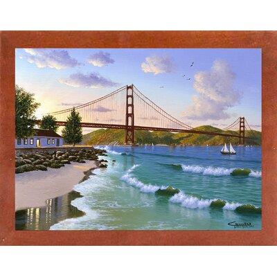 'Golden Gate 1940' Graphic Art Print Format: Affordable Canadian Walnut Medium Framed Paper, Size: 31