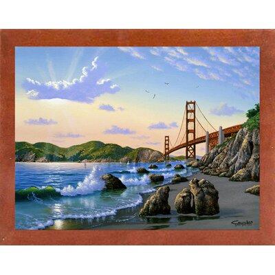'Golden Gate Sunset, CA 2' Graphic Art Print Format: Affordable Canadian Walnut Medium Framed Paper, Size: 17