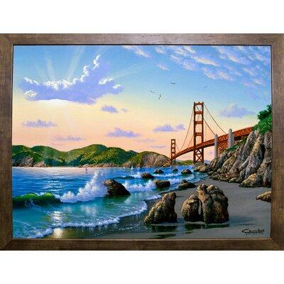 'Golden Gate Sunset, CA 2' Graphic Art Print Format: Cafe Mocha Framed Paper, Size: 17