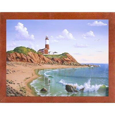 'Montauk Point, NY' Graphic Art Print Format: Affordable Canadian Walnut Medium Framed Paper, Size: 23.25