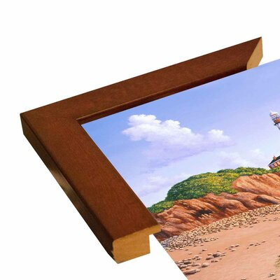 'Montauk Point, NY' Graphic Art Print Format: Canvas Black Floater Frame, Size: 23.25