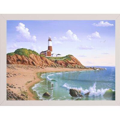 'Montauk Point, NY' Graphic Art Print Format: Affordable White Medium Framed Paper, Size: 23.25
