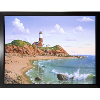 'Montauk Point, NY' Graphic Art Print Format: Budget Saver Framed Paper, Size: 23.25