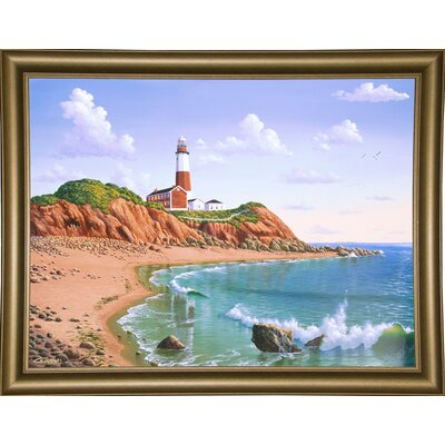 'Montauk Point, NY' Graphic Art Print Format: Bistro Gold Framed Paper, Size: 23.25