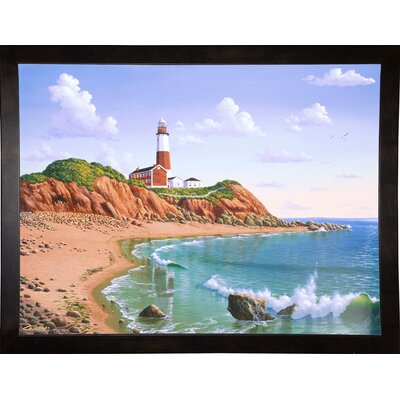 'Montauk Point, NY' Graphic Art Print Format: Cafe Espresso Framed Paper, Size: 23.25