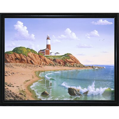 'Montauk Point, NY' Graphic Art Print Format: Flat Back Metal Framed Paper, Size: 23.25