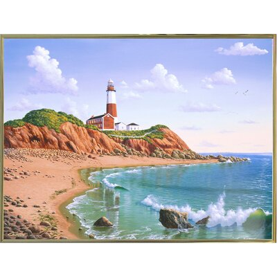 'Montauk Point, NY' Graphic Art Print Format: Gold Metal Framed Paper, Size: 23.25