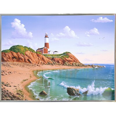 'Montauk Point, NY' Graphic Art Print Format: Silver Metal Framed Paper, Size: 23.25