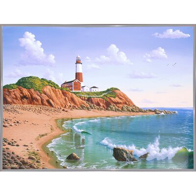 'Montauk Point, NY' Graphic Art Print Format: White Metal Framed Paper, Size: 23.25