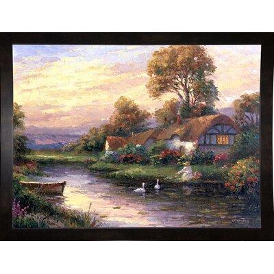 'Lakeside Cottage' Print Format: Black Wood Medium Framed Paper