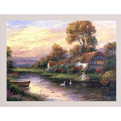 'Lakeside Cottage' Print Format: White Wood Medium Framed Paper