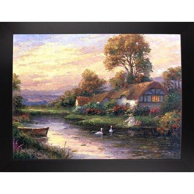 'Lakeside Cottage' Print Format: Black Wood Large Framed Paper