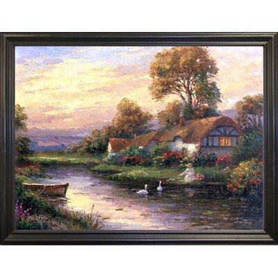 'Lakeside Cottage' Print Format: Black Wood Grande Framed Paper