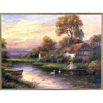 'Lakeside Cottage' Print Format: Gold Metal Framed Paper