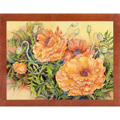 'Double Poppies' Print Format: Canadian Walnut Wood Medium Framed Paper