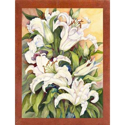 'Lilies Basking' Print Format: Canadian Walnut Wood Medium Framed Paper