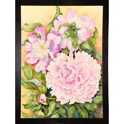 'Spring Peony' Print Format: Black Wood Medium Framed Paper