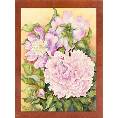 'Spring Peony' Print Format: Canadian Walnut Wood Medium Framed Paper
