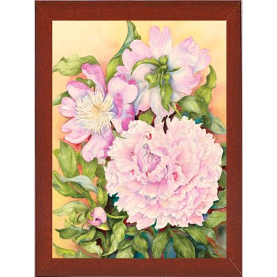 'Spring Peony' Print Format: Red Mahogany Wood Medium Framed Paper