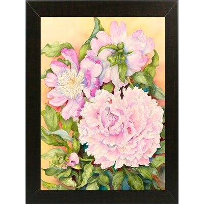 'Spring Peony' Print Format: Brazilian Walnut Wood Medium Framed Paper