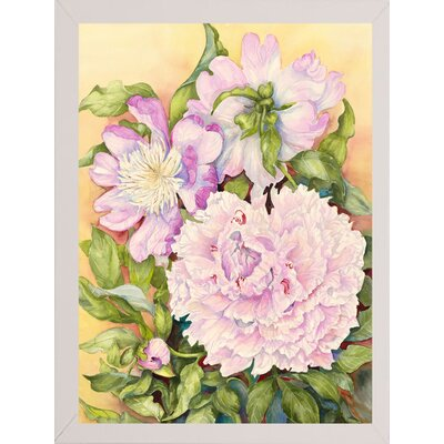 'Spring Peony' Print Format: White Wood Medium Framed Paper