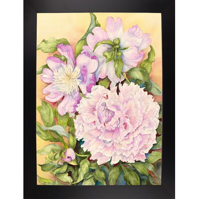 'Spring Peony' Print Format: Black Wood Large Framed Paper