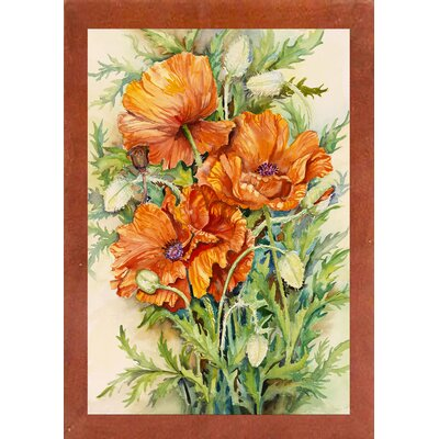 'Cluster of Poppies' Graphic Art Print Format: Canadian Walnut Wood Medium Framed Paper