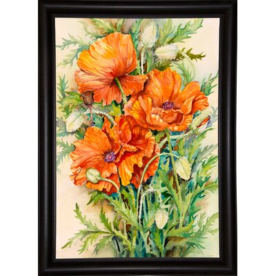 'Cluster of Poppies' Graphic Art Print Format: Bistro Expresso Framed Paper