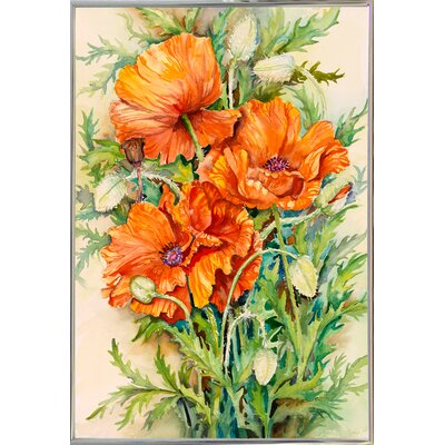 'Cluster of Poppies' Graphic Art Print Format: Silver Metal Framed