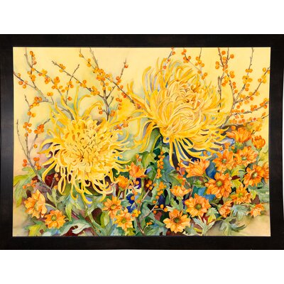 'Fall Chrysanthemums' Graphic Art Print Format: Black Wood Medium Framed Paper