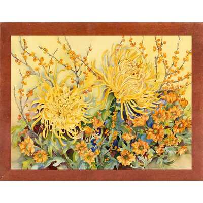 'Fall Chrysanthemums' Graphic Art Print Format: Canadian Walnut Wood Medium Framed Paper
