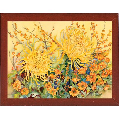 'Fall Chrysanthemums' Graphic Art Print Format: Red Mahogany Wood Medium Framed Paper