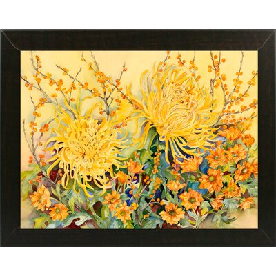 'Fall Chrysanthemums' Graphic Art Print Format: Brazilian Walnut Wood Medium Framed Paper