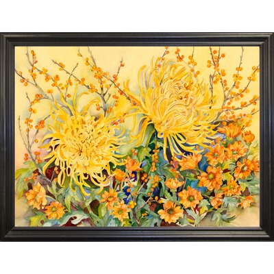 'Fall Chrysanthemums' Graphic Art Print Format: Black Wood Grande Framed Paper
