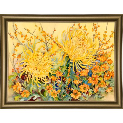 'Fall Chrysanthemums' Graphic Art Print Format: Bistro Gold Framed Paper