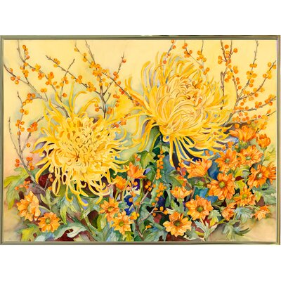 'Fall Chrysanthemums' Graphic Art Print Format: Gold Metal Framed