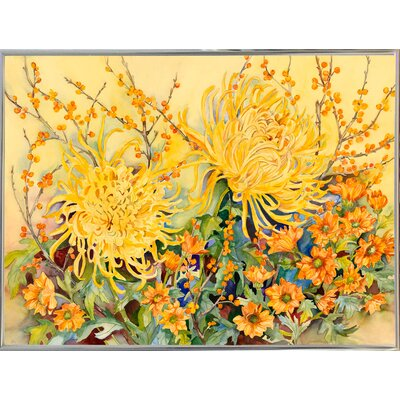 'Fall Chrysanthemums' Graphic Art Print Format: Silver Metal Framed