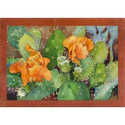 'Blossoming Cactus' Graphic Art Print Format: Canadian Walnut Wood Medium Framed Paper
