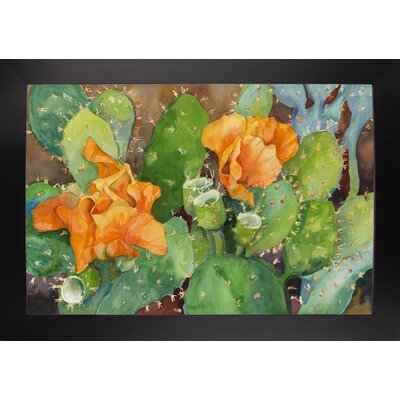 'Blossoming Cactus' Graphic Art Print Format: Black Wood Large Framed Paper