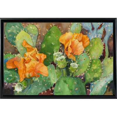 'Blossoming Cactus' Graphic Art Print Format: Shiny Black Metal Framed