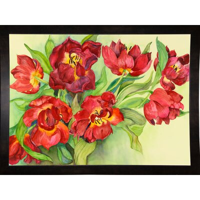 'Double Red Tulips' Print Format: Black Wood Medium Framed Paper